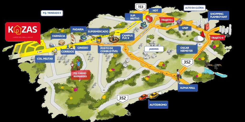 Kazas Jardins Bellágio Mapa Ilustrativo